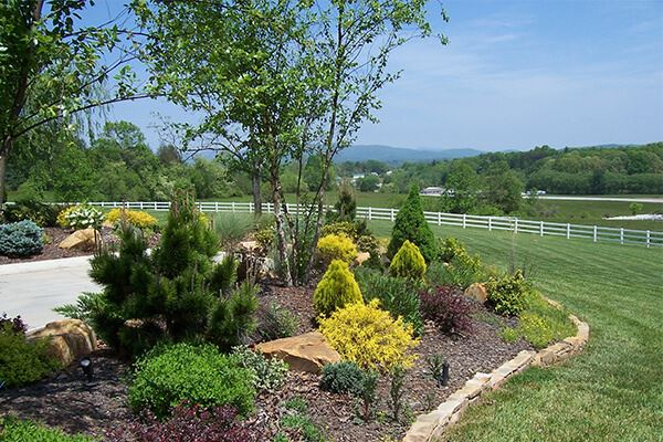 Backyard landscaping at Silver Ridge Recovery Center